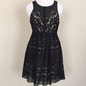 Free People Rocco black lace open back dress